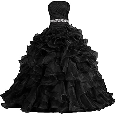 Victoria Womens Pretty Ball Gown Quinceanera Dress Ruffle Prom Dresses Black us2