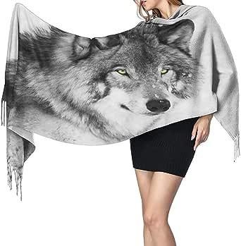 Bufanda Blanco y negro Retrato de lobo Bufanda Bufanda ...