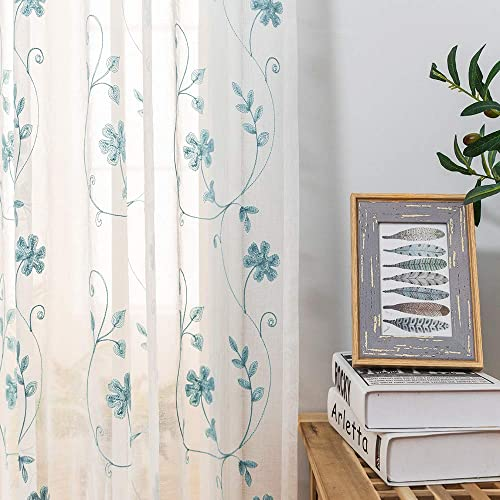 Sheer Curtains Blue 45 Inch Embroidered Floral, Rod Pocket Voile Drapes for Living room, Bedroom, Window Treatments Semi Crinkle Curtain Panels for Yard, Patio, Villa, Parlor, Set of 2, 52 x 45 .