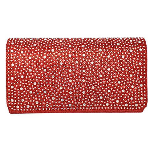 Wedding Evening Women Prom Bag Red Clutch Shiny Hotstylezone Party Glitter Envelope Diamante C1qnXHw