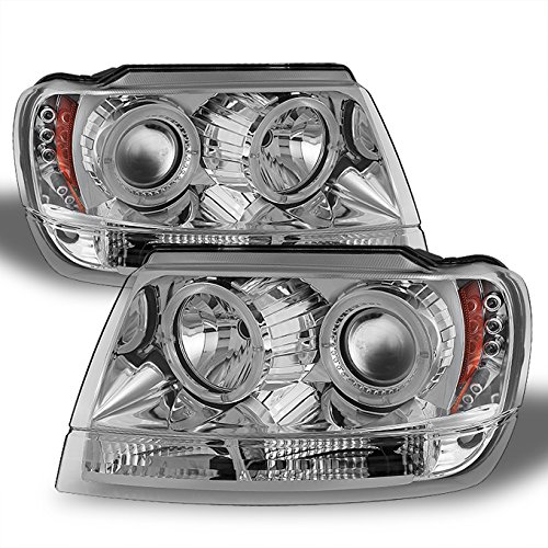 Jeep Grand Cherokee Chrome Clear Dual Halo Ring Projector LED Headlights Head Lamps Replacement (Projector Chrome Clear Headlight)