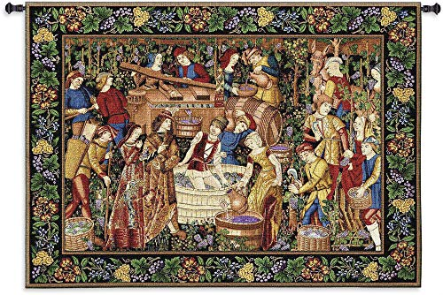 Les Vendanges Grape Harvest | Woven Tapestry Wall Art Hanging | French Belgian Style Winery Decor | 100% Cotton USA Size 75x53