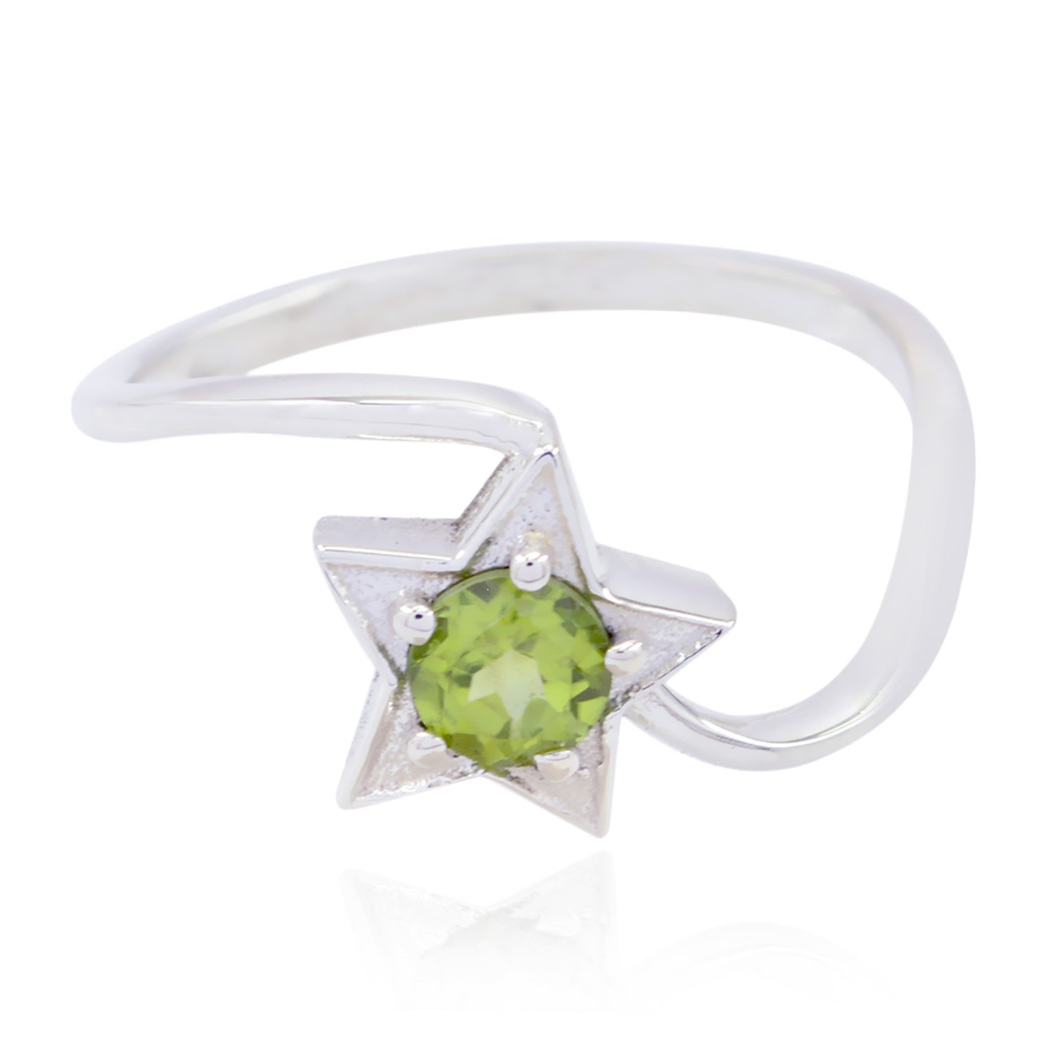 Natural Gemstone Round Faceted Peridot Ring 925 Sterling Silver Green Peridot Natural Gemstone Ring Great Jewelry Most Item Gift for Valentines Day top Ring