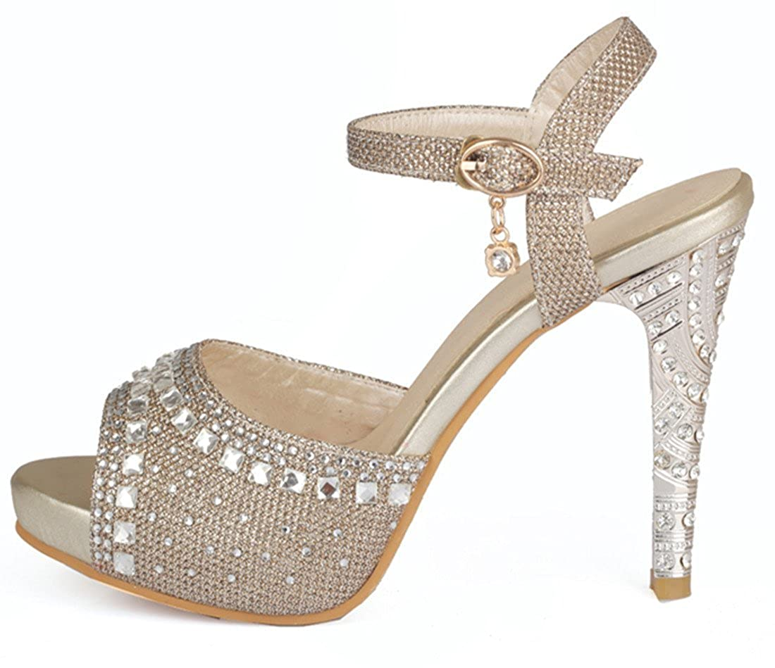 e1f0304494572 YE Women's Peep Toe Ankle Strap High Heels Stiletto Glitter Strappy Sandals  with Rhinestone Wedding Bridal Shoes: Amazon.co.uk: Shoes & Bags