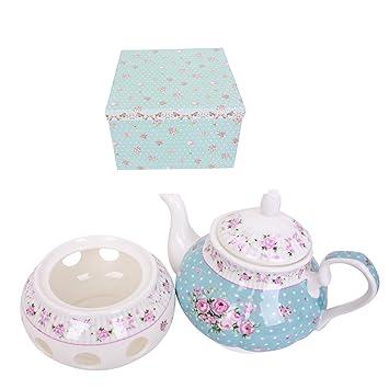 Teekanne Porzellan Mit Stövchen teekanne mit w auml rmer vintage blumen design porzellan in