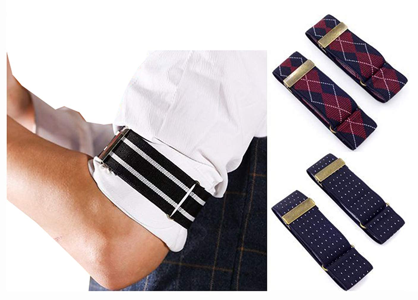 Mens 2 PCS Polka Dots Elastic Adjustable Sleeve Holders Armbands 1.4 Inch Width MNSP181248