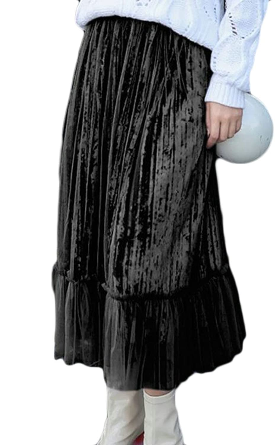 Cruiize Women's Velour Gauze Splice Vogue High Waist Pleated Long Skirt