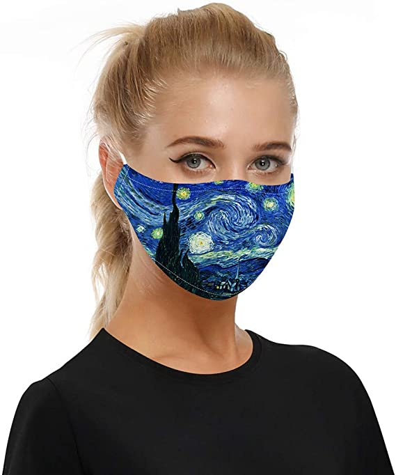 2PCS Bandana Face Washable Reusable Cover Protection Dust Cloth Elastic String Cycling Motorcycle Cotton Fabric Balaclava Black 2PCS Filters