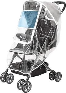 Upgraded Universal Stroller Rain Cover, Double Door Design & Large Storage Baby Stroller Weather Shield, WaterproofStroller Cover, Food Grade EVA, Eye Protect (White)