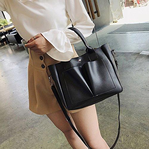 Ansenesna Vintage Donna Elegante Nero Ed Bag Messenger Borsa Qualità Semplice In Pelle Da Di Alta UxHw0UqrE