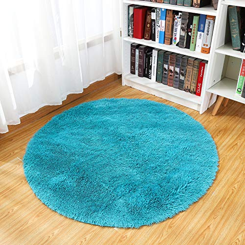 Junovo Round Fluffy Soft Area Rugs for Kids Room Children Room Girls Room Nursery,4 Feet,4-Feet,Blue