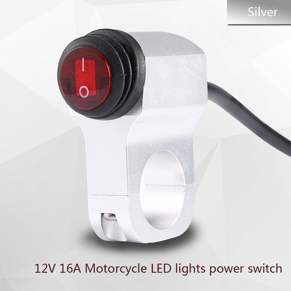 Zerone 12 V 16 A Motorrad Lenker wasserdicht Nebelscheinwerfer Lichtpunkt Einschalten Schalter LED Anzeige