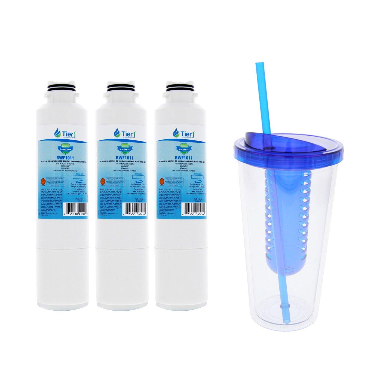 Tier1 Replacement Samsung DA29-00020B, DA29-00020A, HAFCIN/EXP, HAFCIN, 46-9101, DA97-08006A-B Fridge Filter with an Infuser Water Bottle 3 Pack