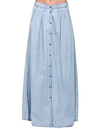 ebca26b3a6 Women's High Waist A-Line Button Front Denim Maxi Skirt with Side  Pocket(Light Blue) at Amazon Women's Clothing store: