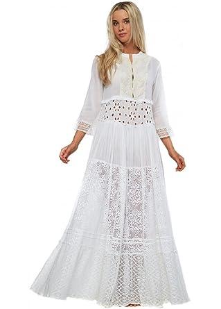 Antica Sartoria White Cotton   Lace Beaded Neckline Boho Maxi Dress One  Size White de1a5f055
