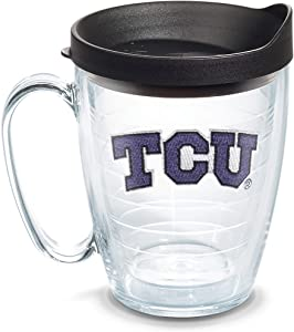 Tervis 1056768 TCU Horned Frogs Logo Tumbler with Emblem and Black Lid 16oz Mug, Clear