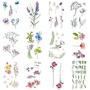 WYUEN 12 PCS/lot Flower Temporary Tattoo Sticker for Women Men Fake Tatoo Body Art Adult Waterproof Hand Stickers 9.8X6cm (FW12-04)