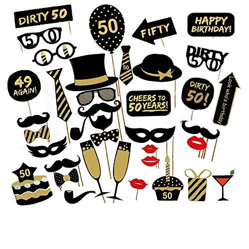 Losuya 50th Birthday Party Photo Booth Props 36pcs DIY Set Funny Photobooth Prop for Unisex 50th Birthday Celebration ()