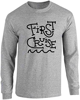 Pop Threads First Cruise Travel Vacation Full Long Sleeve Tee T-Shirt