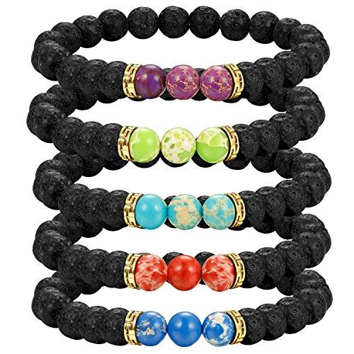 Beaded Bracelets Lolias 5 Pcs Lava Rock Stone Diffuser Bracelet Mens Womens Healing Energy Stretch Bracelets 3T