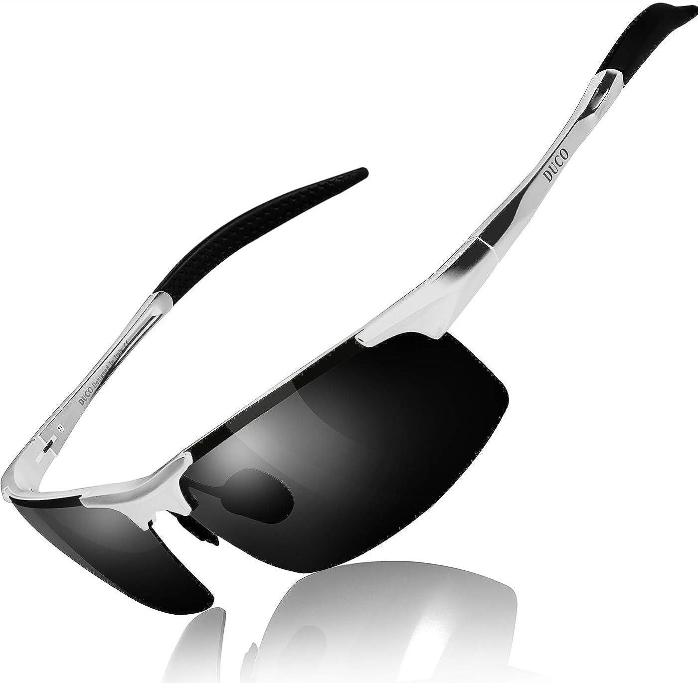Duco Lunettes de soleil homme Lunettes de sport polarisées - Lunettes de conduite avec monture en métal Incassable - 100% anti UV400-8177S Zilver