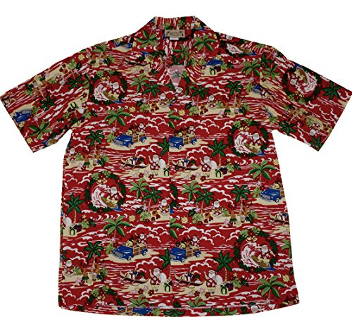 Hawaiian 100% Cotton mens Christmas Santa Aloha Shirts