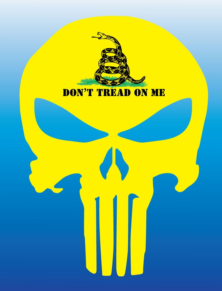 Dont Tread on Me Flag Car Bumper Sticker Decal BLD BOLDERGRAPHX 4004 Punisher Skull with Gadsden Flag