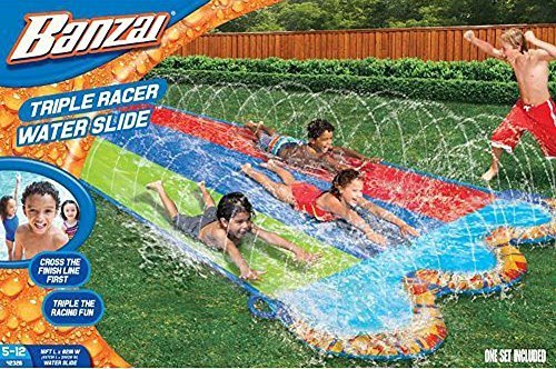 (Banzai 16 ft. Triple Racer Water Slide with Giant Water-Spraying Rails by Toy Quest)
