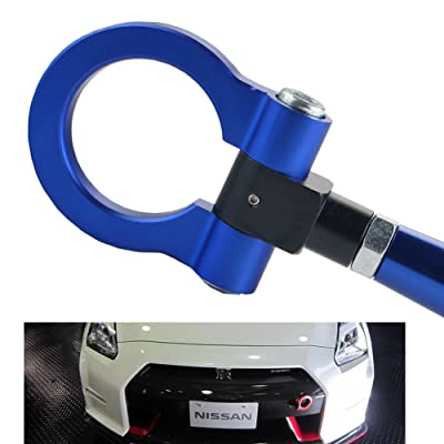 DEWHEL JDM Folding Screw On Racing T2 Tow Hooks Front Rear for 350Z 370Z Juke GT-R Infiniti G37/Q60 Coupe Blue: Automotive
