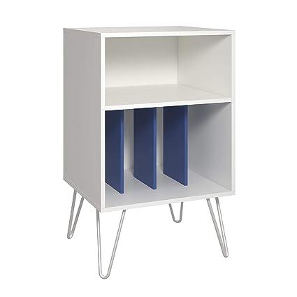 Amazon Com Novogratz Concord Turntable Stand White Blue Kitchen