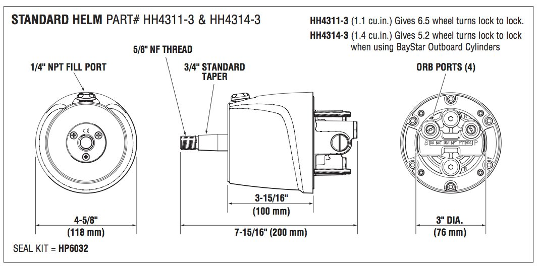 BayStar Front Mount 1 4 Standard Marine Hydraulic Steering Helm HH4314-3