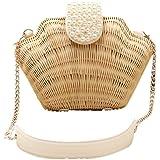 Bronze Times (TM)Womens Manmade Straw Pearl Shell Weave Purse Crossbody Bag