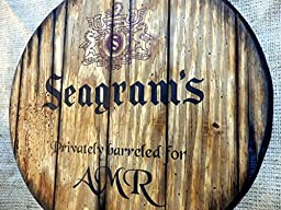 Personalized decorative Sign - whiskey barrel top | Handpainted Seagram\'s artwork and your additional message on a carved, distressed wood sign | Rustic wall decor