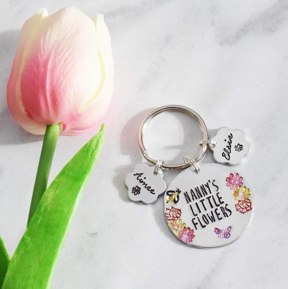 Nanny's Little Flowers hand stamped personalised keyring childrens names Gran Nana Nanna Granny Aunty Mummy
