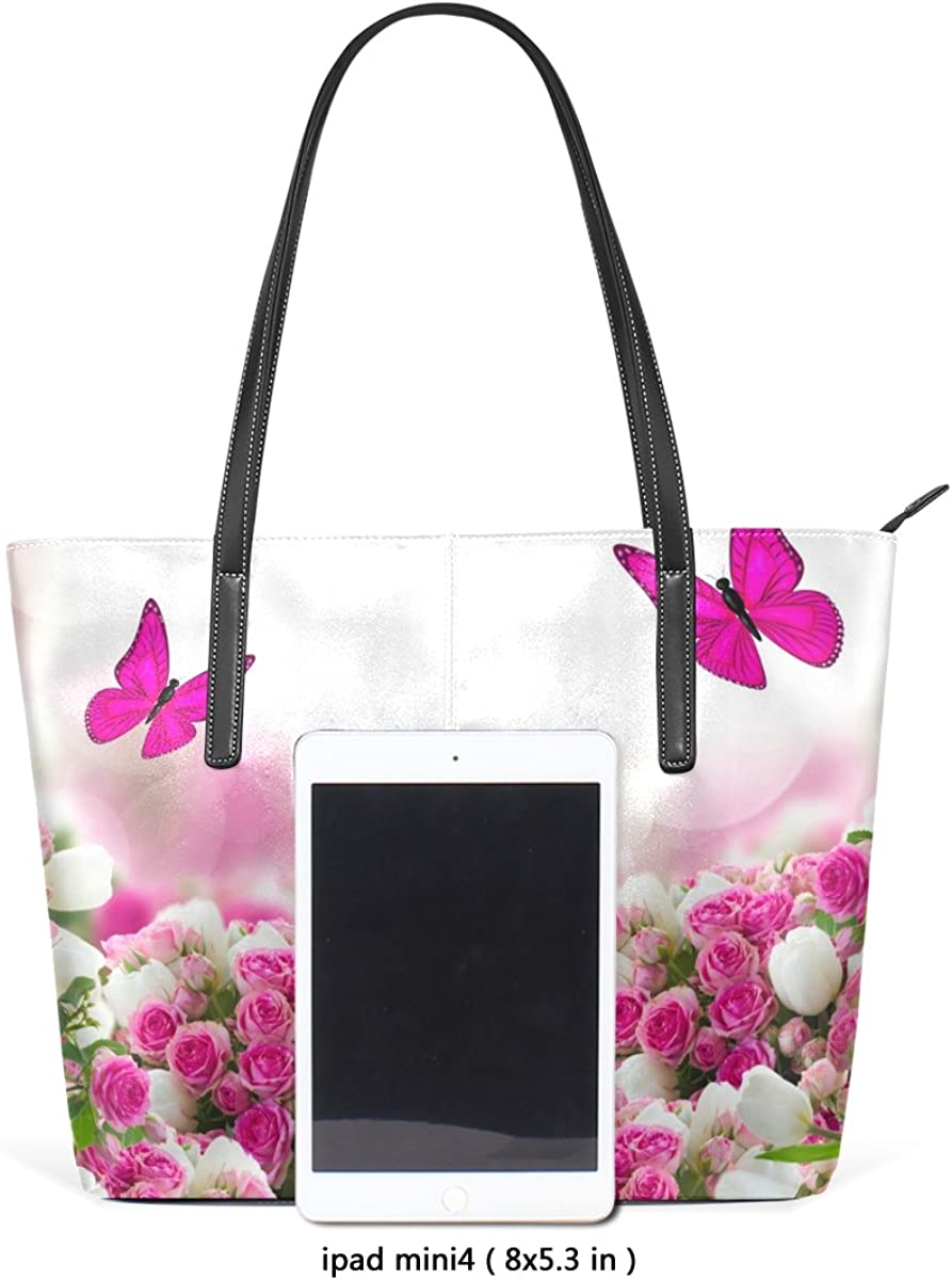 Ethel Ernest Womens Purse Pink Butterflies With Flowers PU Leather Shoulder Tote Bag