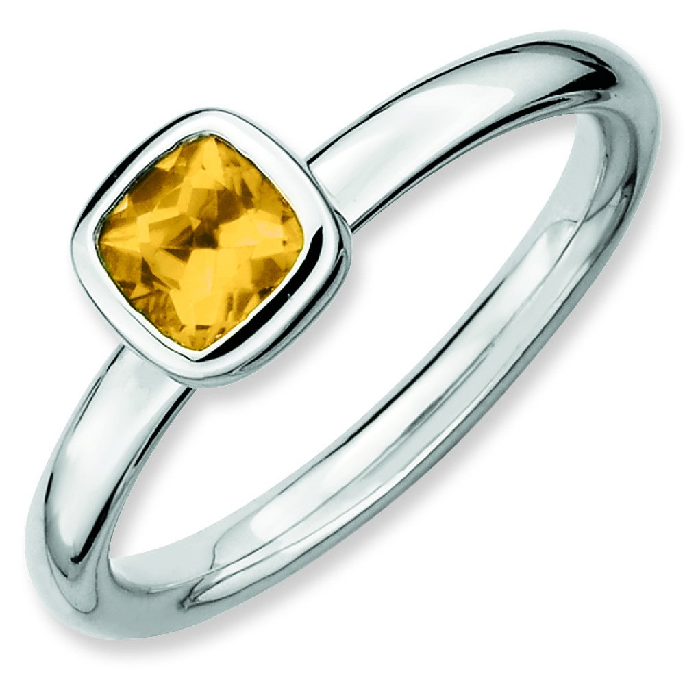 Sterling Silver Stackable Expressions Cushion Cut Citrine Ring (Sizes 5-10) QSK456