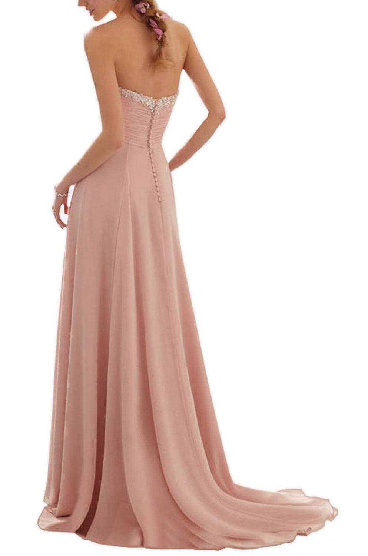Vougemarket® A-Linie Lang Chiffon Perlen Herz-Ausschnitt Abendkleid ...