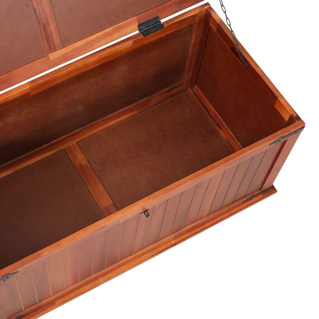 Coffre de Rangement en Bois Massif Bo/îte de Rangement Vintage 90 x 45 x 40 cm Festnight