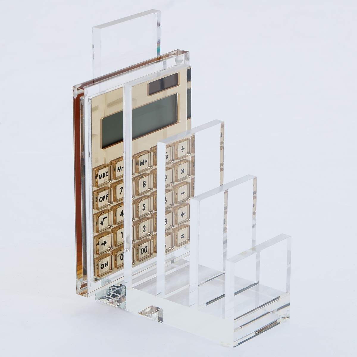 Acrylic Calculator Sorter by Draymond Story, 4 Slots(13/16'' Gap), Clear File Organizer (Calculator Sold Separately) by DS DRAYMOND STORY