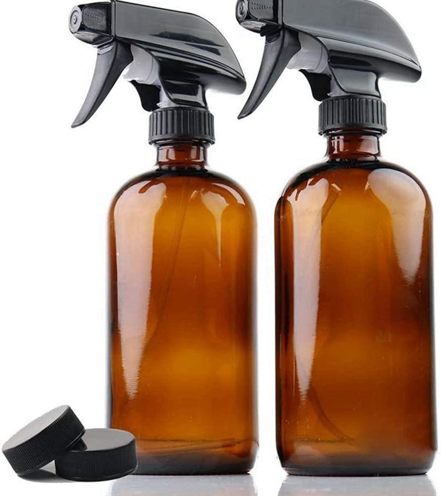 Hengory Frascos de Spray 250/500 ml de Vidrio, Dos Paquetes, bombonas Amber, recipientes de Spray húmedo de Boston, generadores de Aerosol activados (Amber, 250ml)
