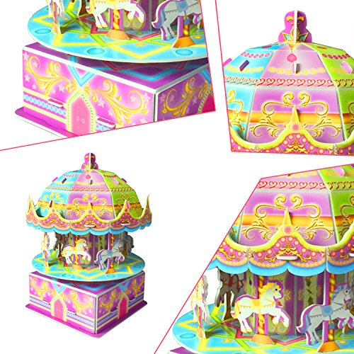 3D Carousel Puzzles for Kids Magic Carousel Music Box Dollhouse Model Whirligig Jigsaw Music Box DIY Construction Set Educational Toys Creative Games, Carousel Toy for Birthday Gift Girl Boy by TTHO (Image #3)