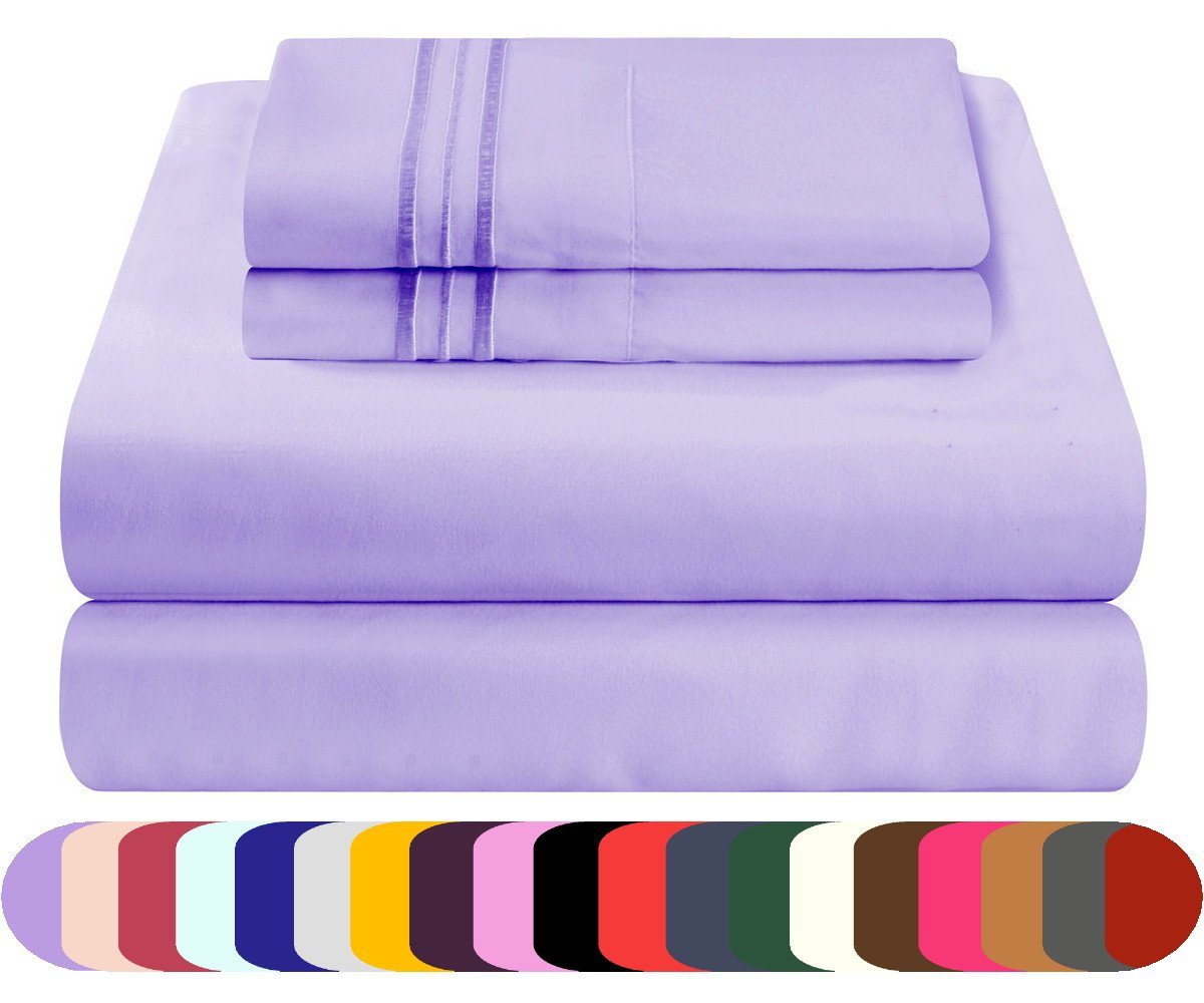 Bed Sheet Set Prestige Collection - Brushed Microfiber Bedding (Lilac Lavender, Full)