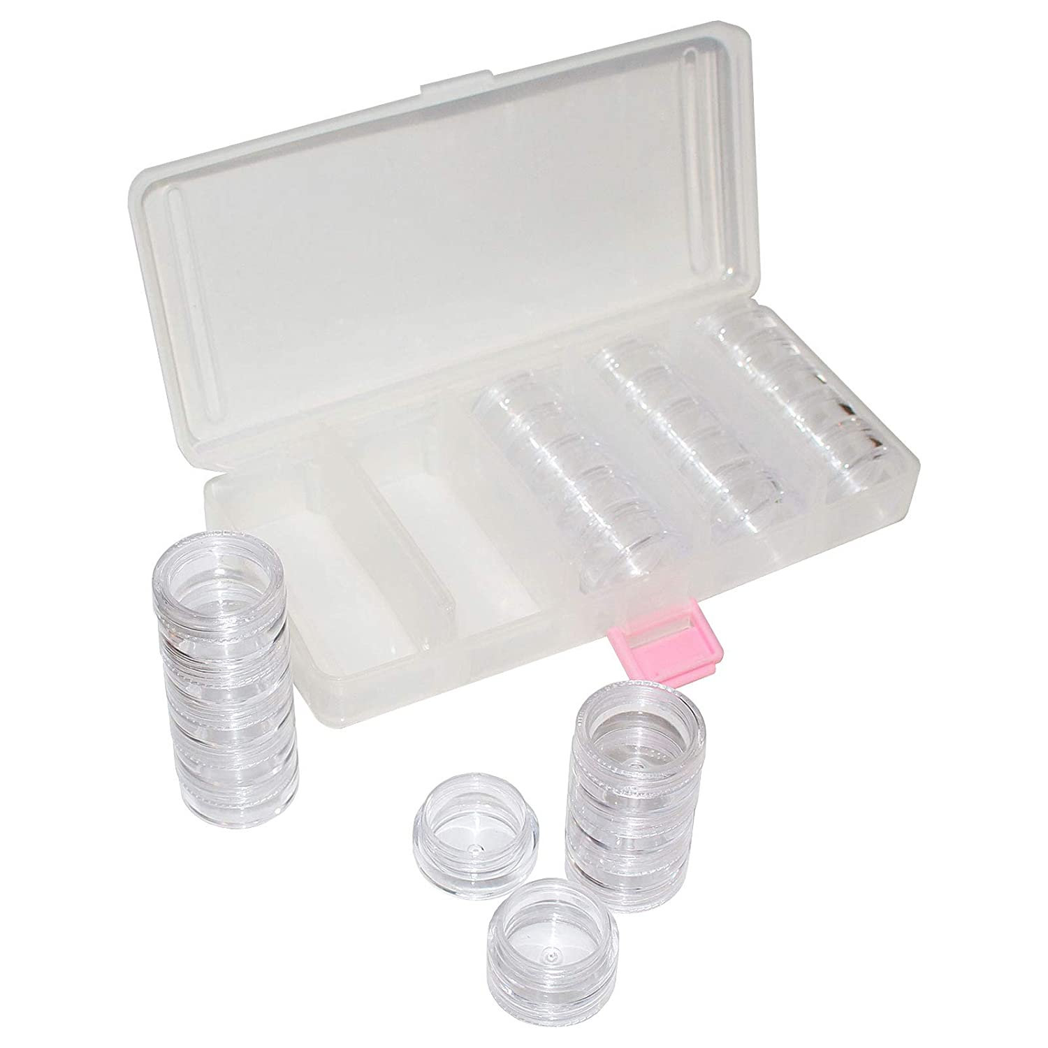 Bead Storage Organizer - 25 Piece (2cm)H Removable Pot Style Clear Plastic Divider Containers (19 x 9cm) For Storing Seed Beads, Nail Art Glitter, Cosmetics, DIY Art/Craft and Jewelery Findings Kurtzy