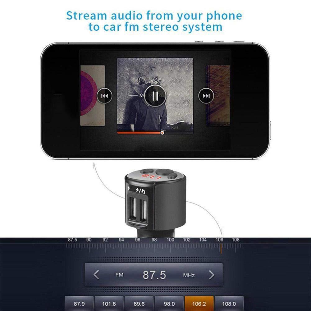 Dire-wolves Adattatore Auto trasmettitore Radio FM Wireless trasmettitore FM Bluetooth per Auto Bluetooth Car Kit trasmettitore FM Wireless Radio Adattatore Caricatore USB
