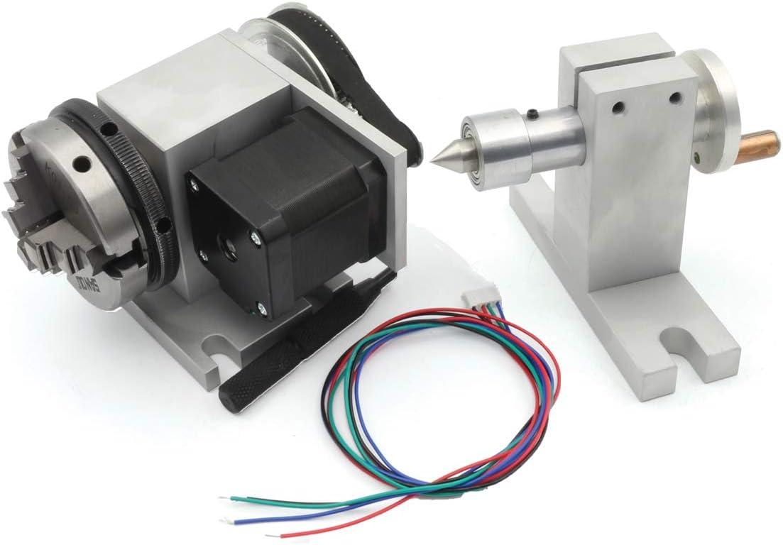RATTMMOTOR CNC Router Axis 4 Eje Rotary K11 – 65 mm 3 Mandril Chuck cabeza parcial con 54 mm de contrapunto CNC eje giratorio 4th ejes para máquina de grabado fresadora