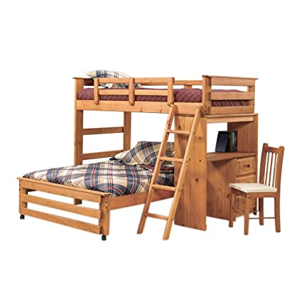 Amazon Com Twin Over Full L Shaped Bunk Bed With Desk End Kitchen