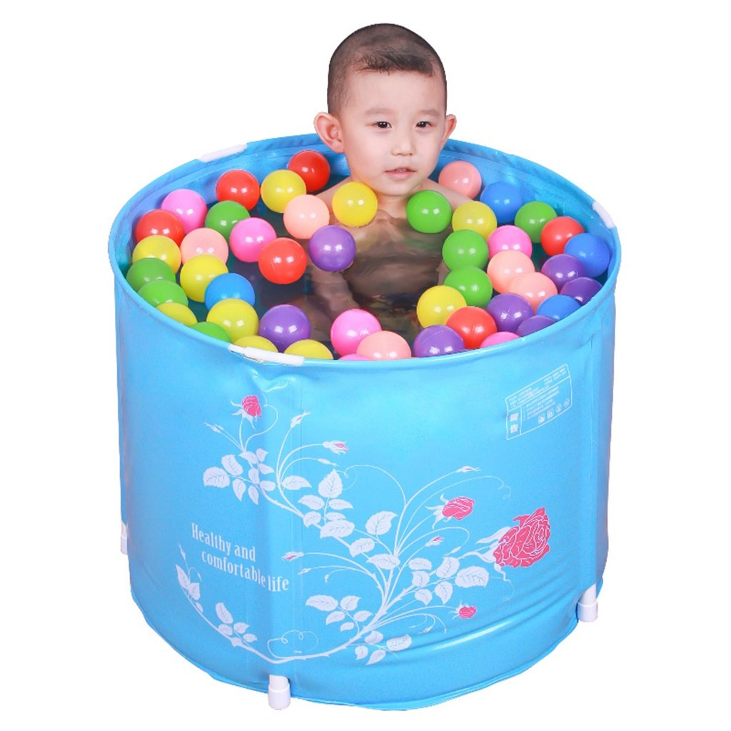Zheng Hui Home Bathtubs Children's folding bathtub thick plastic bath barrel baby tub (Color : Blue, Size : 58cm/22.8inch)