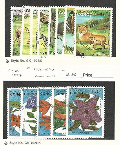 Congo, Postage Stamp, 1008-15, 1016-20 Used, 1993 Animals, Flowers