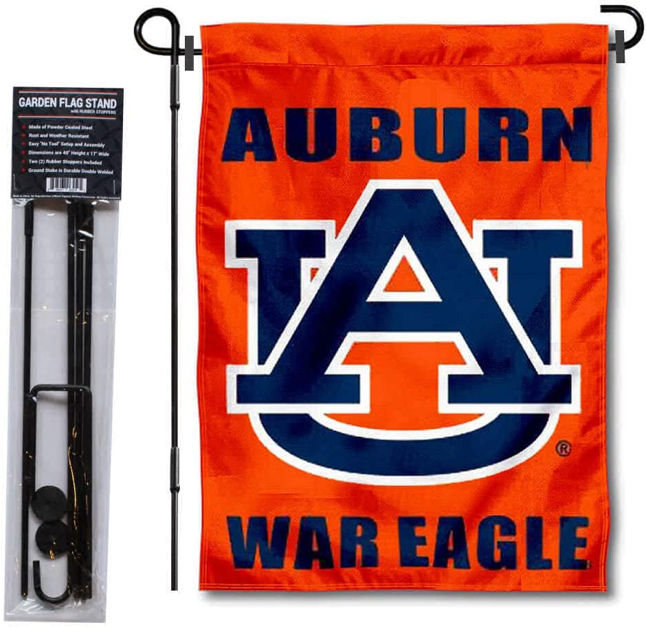 College Flags & Banners Co. Auburn Tigers War Eagle Garden Flag and Flag Stand Pole Holder Set