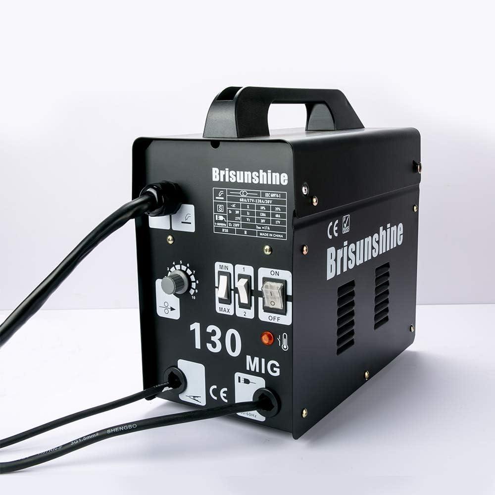 Ventilador de Refrigeraci/ón Soldador Inverter MIG 130,UKing Maquina de Soldar 240V,50-120A con M/áscara y Cepillo 13A Fusible